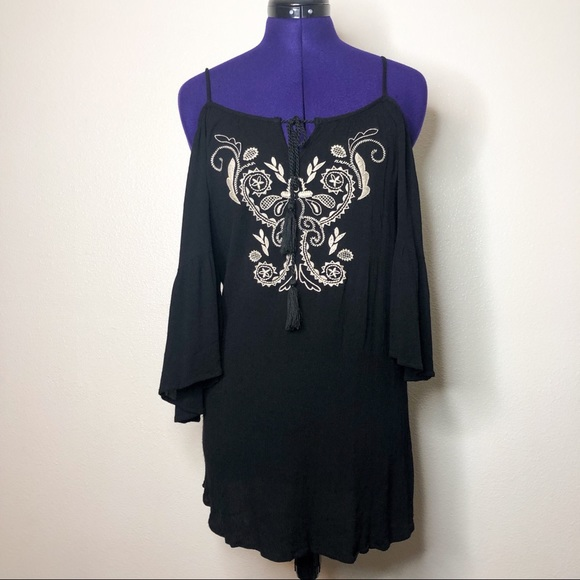 Flying Tomato Tops - Flying Tomato Black Embroidered Long Sleeve Top